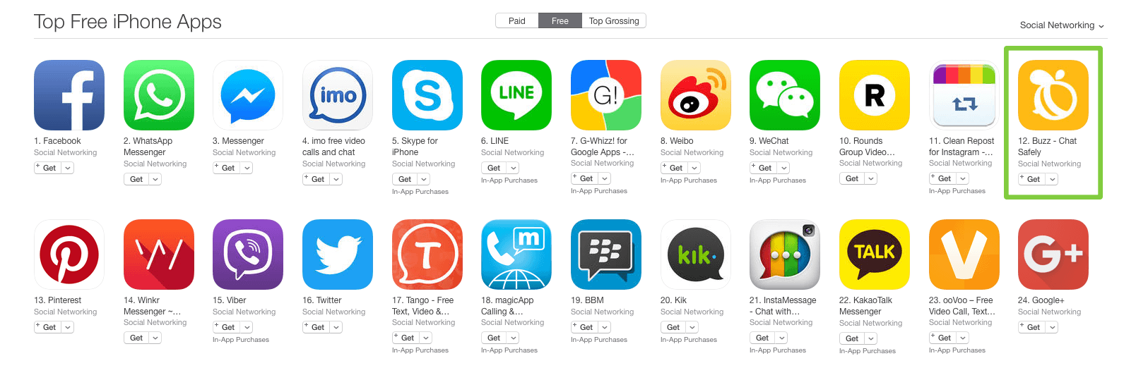 Buzz as the #12 Top Free Social Networking App