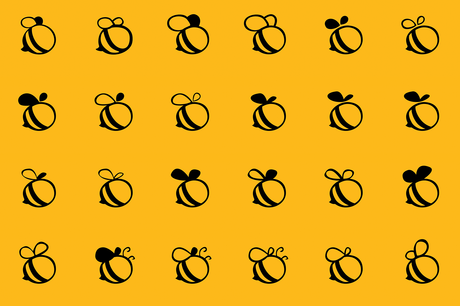 Multiple Bee shaped logomark explorations created with Photoshop