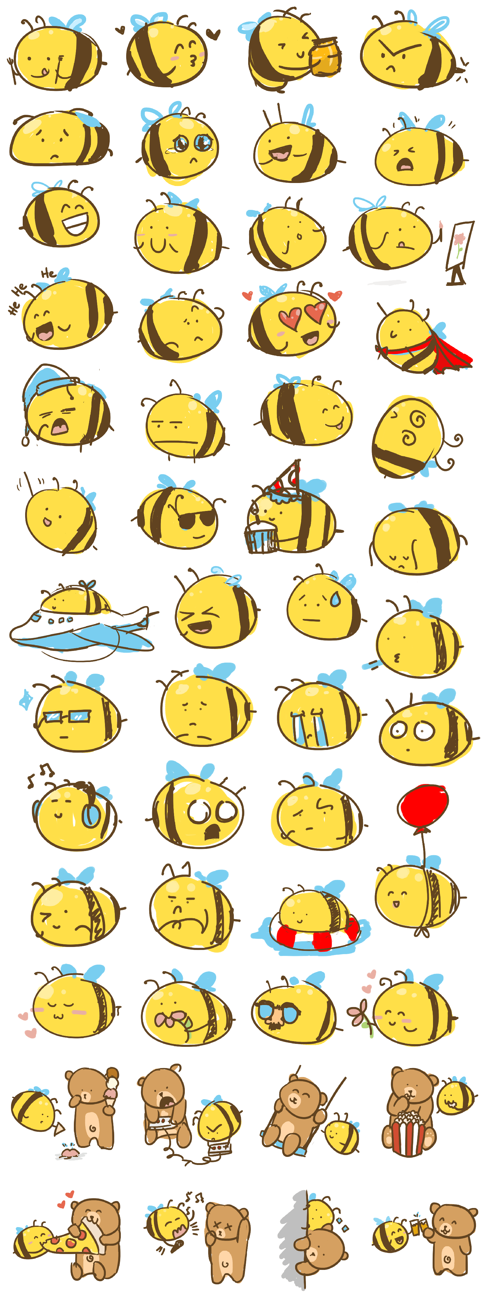 Image showing numerous Buzz Bee sketches