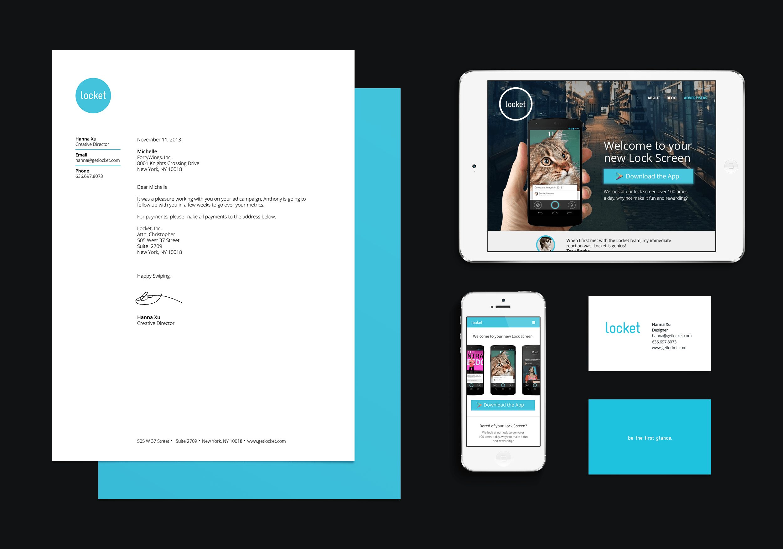 Website, print, and branding created by me